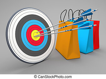 袋, 買い物, ターゲット, カラフルである, 矢, 3