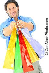 袋, 買い物, 提供, 若い, 魅力的, 人
