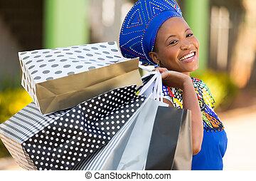 袋, 買い物, 買い物客, モール, 届く, アフリカ
