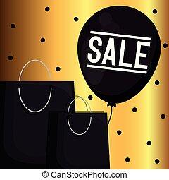 袋, 買い物, balloon, 金曜日, ラベル, 黒, 空気