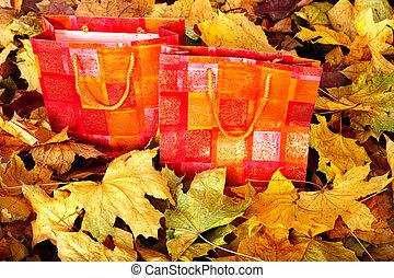 袋, 買い物, foliage., グループ, 秋