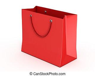 袋, 赤, 隔離された, 買い物