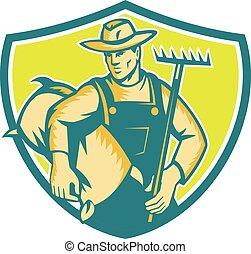 袋, 農夫, 木版, 保護, 有機体である, 熊手
