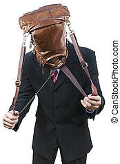 袋, 頭, 彼の, ビジネスマン