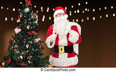 袋, claus, 木, クリスマス, santa