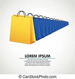 袋, concept., 買い物, セール, row.