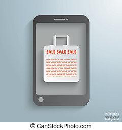袋, smartphone, 買い物