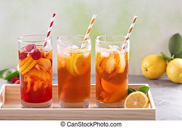 被冰的 茶, 品種, 在, 高的眼鏡