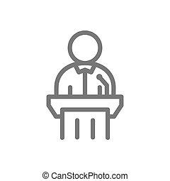 被告, 単純である, シンボル, 隔離された, イラスト, 印, ベクトル, icon., 背景, 白いライン, 目撃者, design.