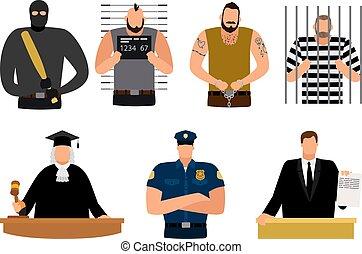 被告, 正義, 警官, 人々, 囚人, 弁護士, 裁判官