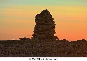 被建造, 從, 石頭, 石標, 在, 傍晚, 在, 午夜, the, 極地, 天