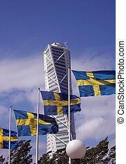 被扭, 塔 塊, 後面, 瑞典語, 旗, 01