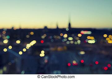 被模糊不清, 城市, 背景