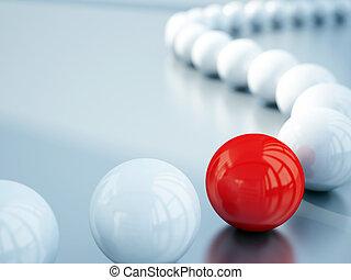 被模糊不清, 白色, 球, 以及, 紅色的球, 是, 對准焦點