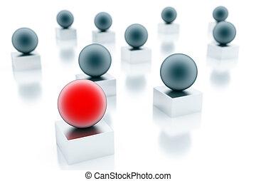 被模糊不清, 藍色, 球, 以及, 紅色的球, 是, 對准焦點, 在懷特上, 背景