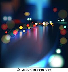 被模糊不清, defocused, 光, ......的, 擁擠的交通, 上, a, 潮濕, 多雨的城市, 路, 在, night.