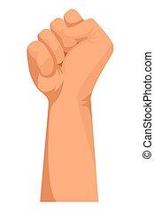 被緊握, 手, 卡通, 拳頭, 簽署
