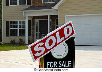 被賣的 標誌, 前面, 美麗, 新的家