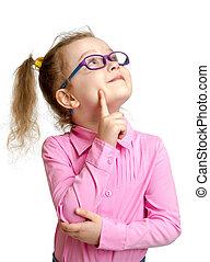 被隔离, 向上, 看, 孩子, 白色, 可愛, 眼鏡