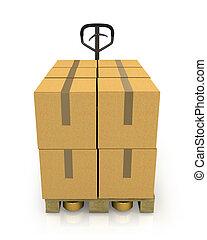 被隔离, 扁平工具, 箱子, 卡車, 背景, 前面, 白色, 紙盒, 堆, 看法