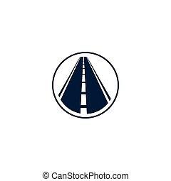 被隔离, 摘要, 高速公路, 元素, 在, 環繞, 標識語, 輪, 形狀, logotype, 由于, 路, 在懷特上, 背景, 矢量, 插圖
