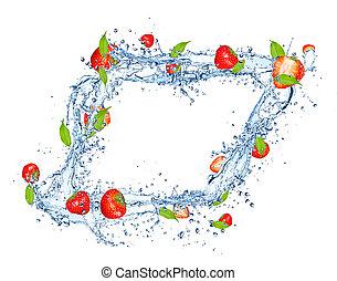被隔离, 水, 草莓, 飛濺, 背景, 新鮮, 白色
