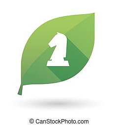 被隔离, 綠色的葉子, 由于, a, 騎士, 國際象棋, 圖