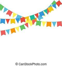被隔离, 花環, 多种顏色, 旗, 白色, 明亮, buntings