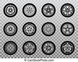 被隔离, 輪子, 輪胎, 以及, 輪胎, 彙整, ......的, icons.