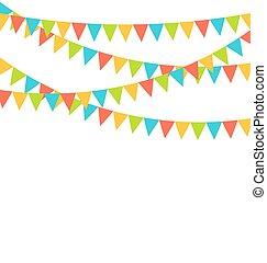 被隔离, buntings, 多种顏色, 明亮, 旗, 花環, 白色