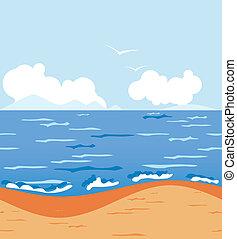 被風格化, 熱帶, 陽光普照, 海灘。, seamless, 水平, 背景
