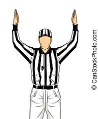 裁判員, 降落, 矢量, 兩個都, 美國足球, 向上, 手