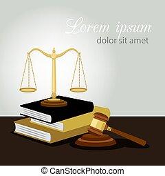 裁判官, イラスト, 正義, concept., 法的, 犯罪, スケール, ベクトル, 本, 小槌, 反, 法律, シンボル