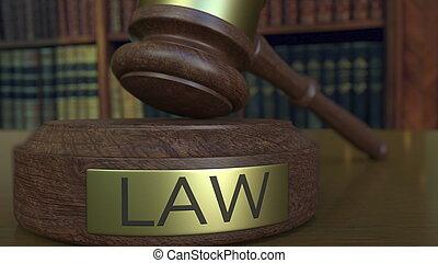 裁判官, ヒッティング, レンダリング, 小槌, 法律, inscription., ブロック, 3d