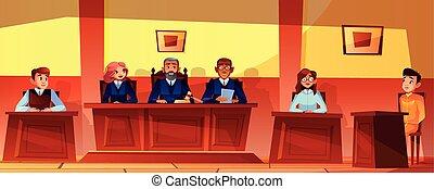 裁判官, ベクトル, 法廷, イラスト, ヒアリング