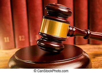 裁判官, 小槌, そして, 法律書, の後ろ