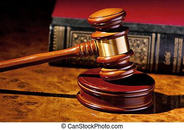 裁判官, 小槌, の, a, 裁判官, 中に, 法廷