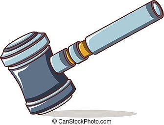 裁判官, 小槌, アイコン, スタイル, 漫画
