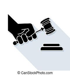 裁判官, 小槌, シンボル, 手