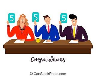裁判官, 概念, スコア, コンテスト, jury., 競争, ベクトル, テーブル, パネル
