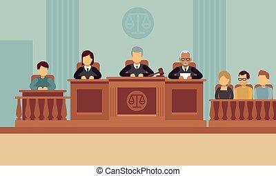 裁判官, 概念, 正義, ベクトル, 法廷, 内部, lawyer., 法律