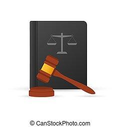 裁判官, 正義, 法律, コード, スケール, 木製である, illustration., books., ハンマー, ベクトル, gavel., 木
