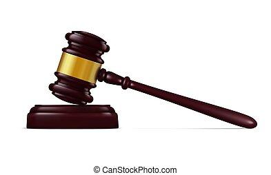 裁判官, 決定, 法廷, ハンマー, 木槌