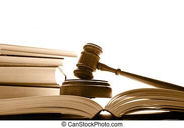 裁判官, 法廷, 小槌, 上に, 法律書, 上に, 白