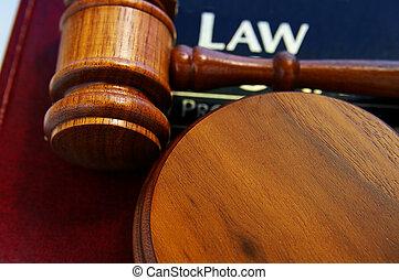 裁判官, 法廷, 小槌, 上に, a, 法律書, 上 から