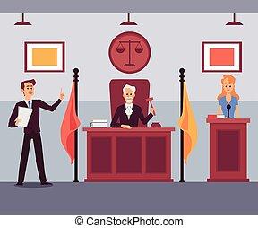 裁判官, 聞くこと, illustration., 裁判所, 平ら, 弁護士, 現場, ベクトル, 漫画