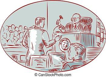裁判官, 被告, エッチング, 法廷