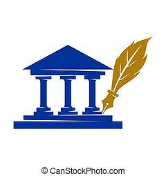 裁判所, ペン, アイコン, 正義, ベクトル, デザイン, 隔離された, 会社, 法律, ロゴ