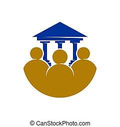 裁判所, 正義, ベクトル, デザイン, 隔離された, 会社, 法律, パートナー, ロゴ