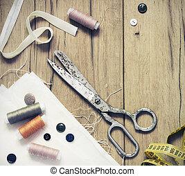 裁縫, はさみ, 背景, 糸, 木製である, 古い, kit., ボビン, 針